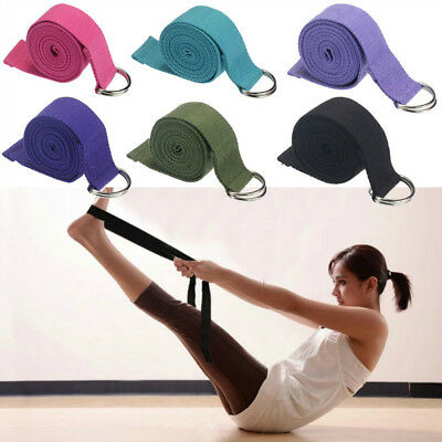 Blend Cotton Yoga Stretching Strap D-Ring Belt 180 cm Waist Leg Fitness Workout