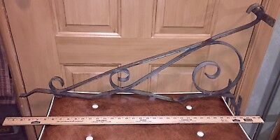 """Antique Scrolled Iron Hand Forged SIGN BRACKET 33"""" Wide Pre-1940 ORIGL!!"""