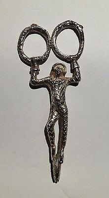 Antique Sterling Silver Harlequin Sugar Tongs/Scissors with Snake Rings
