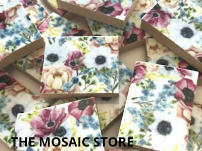 Handmade Floral Ceramic Tiles - Mosaic Art Craft Tiles Supplies