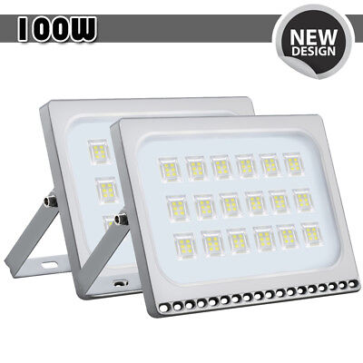 2x 100W LED Flood Light Cool White Outdoor Spotlight Garden Yard Lamp New IP67