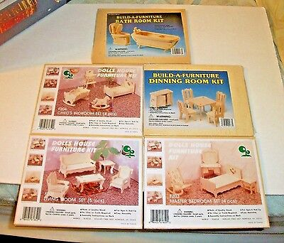 3 Doll House Furniture Kits 2 Build A Furniture Bathroom Dining