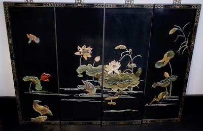 Vintage set of 4 Chinese Oriental carved lacquer panels screen 1950s