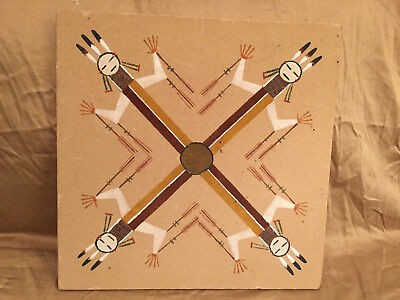 "Navajo Native American Indian Sand Art Paintings Signed By Artist 13"" x 13"""