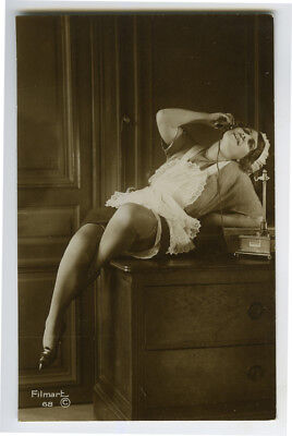 1920s French Risque n/ Nude Chamber MAID on TELEPHONE deco photo postcard