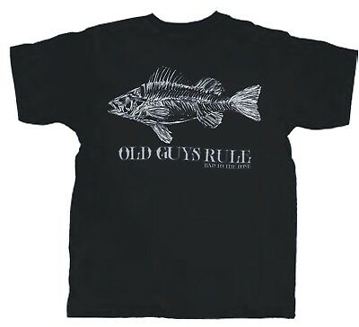"""Old Guys Rule """"Bad to the bone"""" fish t'shirt BNWT size M - 4XL"""