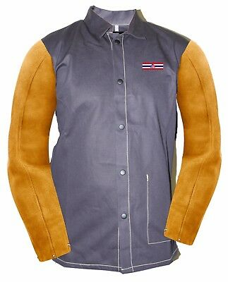 Welding Jacket FR Leather Sleeve Jacket,Cotton/Leather, BLK/Yellow, S to 4XL