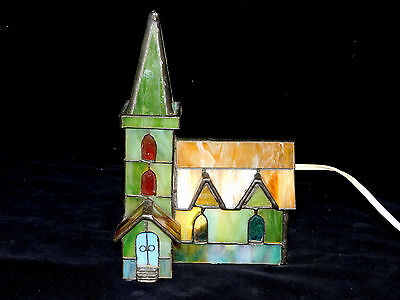 Vintage Leaded Slag/stain Glass Church With Steeple Tabletop Light