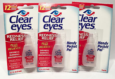 Clear Eyes  Drops Redness Relief 0.2 Oz.6 Ml Exp (2019)Up To 12 Hours