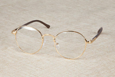 10167cac6a Vintage Oval Gold Eyeglass Frame Man Women Plain Glass Clear Full-Rim  Spectacles