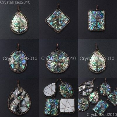 Natural Gemstone Sea Abalone Shell Life Tree Pendant Healing Beads Mosaic Bronze