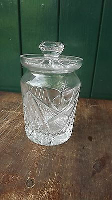 Tyrone Crystal lidded honey / preserve pot Fine cut & Fully stamped