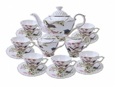Fine Bone China Blue Wren 15pc Tea Set Ceramic Home Kitchen Decoration Xmas Gift
