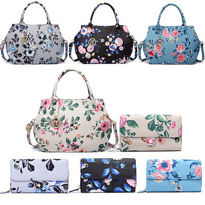Women Designer Tote Handbag Purse Birds Flower Print Satchel Wallet