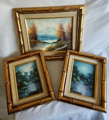 Trio of Vintage Artist Signed Matching Bamboo Framed Oil On Board