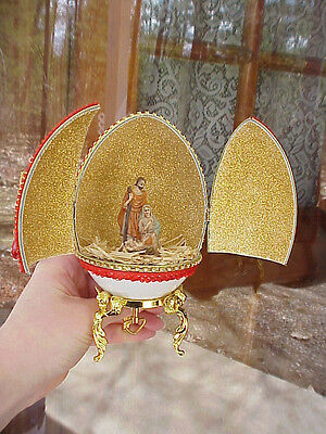 Real Hand Decorated Carved Emu Egg Music Box Christmas Nativity Scene Manger
