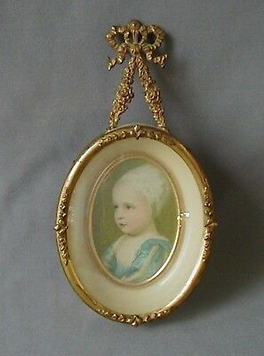 """Antique Brass Ormolu French Picture Frame Miniature 6"""" x 3"""""""