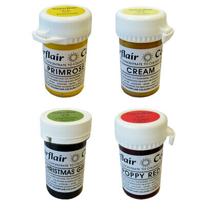 10 x Sugarflair Tartranil Concentrated Paste Gel Edible Food Cake Icing Colour