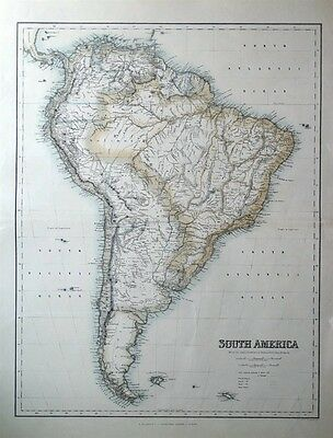 SOUTH AMERICA, Fullarton original antique map c1865
