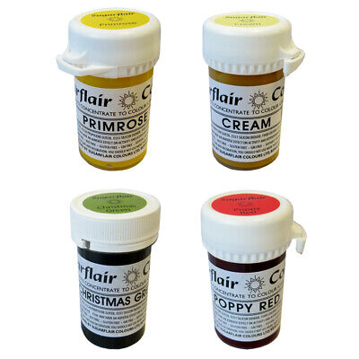 5 x Sugarflair Tartranil Concentrated Paste Gel Edible Food Cake Icing Colour
