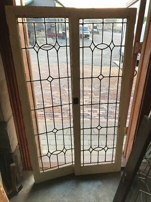Sg 1695 Match Pair Antique Leaded Glass Cabinet Doors Painted 36 X 57