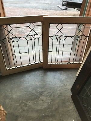 Sg 1698 Match Pair Antique Leaded Glass Art Nouveau Style Fire Side Windows