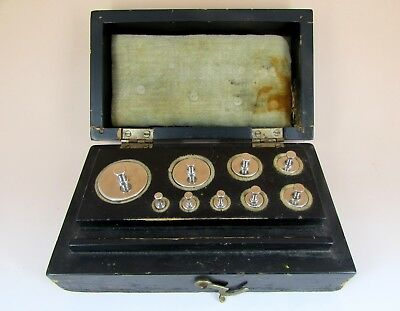 200g Antique Scientific Apothecary Gold Scale Weight Set In Case 1 -100 Grams
