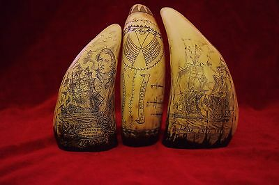 Faux scrimshaw  Three Collectible  teeth.....Shop retail  £72.00    Great value!