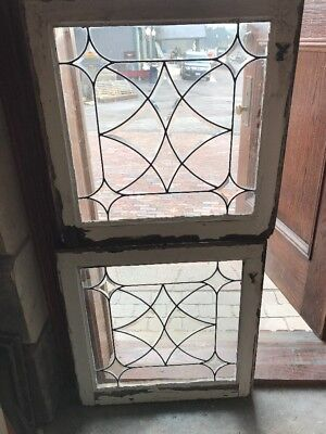 SG 1705 match Pair antique four point Beveled Glass fire side windows 24.5 x 25