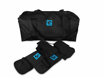 gymadvisor junior black leather gymnastic uneven bar hand guards + black kit bag