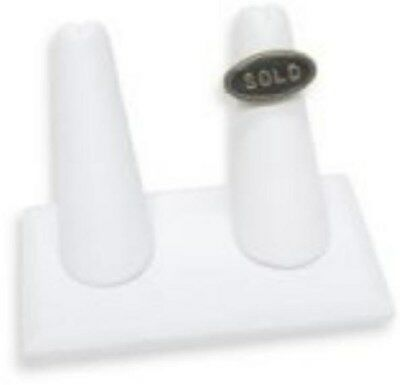 Jewelry Display Fixtures 3 NEW 2-RING WHITE LEATHERETTE RING DISPLAYS