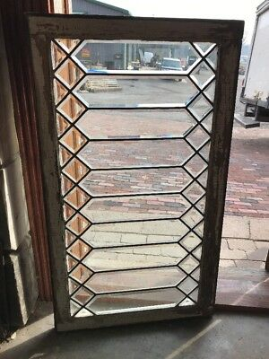 SG 1708 antique all beveled glass geometric transom window 25 X 43