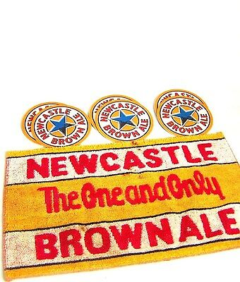 "Older NEWCASTLE 9 x 15.5 BAR TOWEL & A DOZEN NEW 3.25"" DRAUGHT BEER COASTERS"