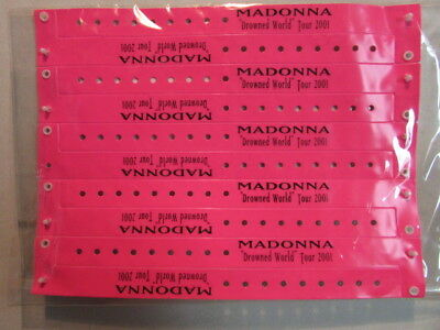 Madonna 2001 Drowned World Tour Sheet Of 10 Unused Pink Bracelet Wristbands Rare
