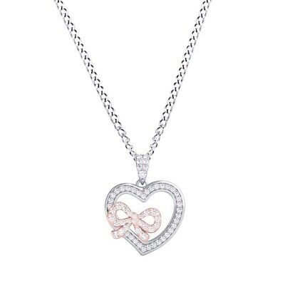 1/4Ct Diamond Sterling Silver & 14K Gold Over Heart & Bow Pendant Valentine Gift