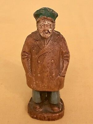 Vintage Wooden Hand Carved Folk Art Carving Of Old Man - Artist Unknown