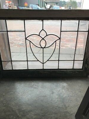 SG 1718 antique all beveled glass tulip center transom window 23 x 34.5