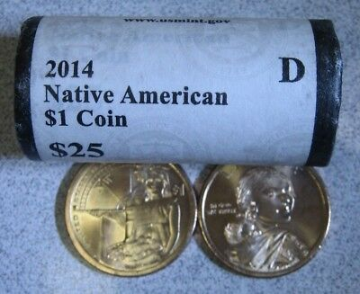 2014 D Native American Sacagawea $1 Dollar Roll US Mint ROLL 25 COINS $25 Face