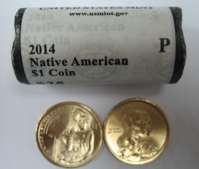 2014 P Native American Sacagawea $1 Dollar Roll US Mint ROLL 25 COINS $25 Face