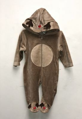 Kids Unisex Novelty Reindeer Soft Warm Winter Snowman Baby Grow All in One Piece