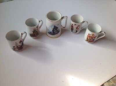 **Norman Rockwell** Coffee Cups, Lot Of 5, One is a Large Mug, Dainty, drinkware
