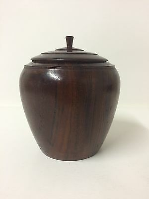 Antique Vintage Walnut Tea Caddy Hand Turned Lid Bowl Dish Farmhouse