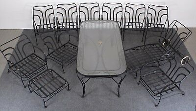 Twelve-Piece Wrought Iron Woodard Patio Set, 1960