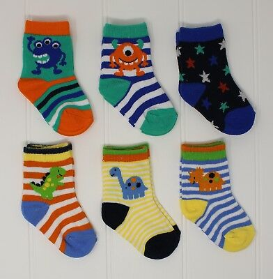 6 Pairs Of Baby Boys Socks - Monster & Dinosaur Theme - (Sizes from 0-24 months)