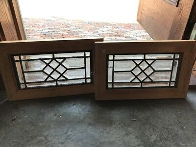 Sg 1732 Match Pair Antique All Beveled Small Size Window 17.25 X 10.75