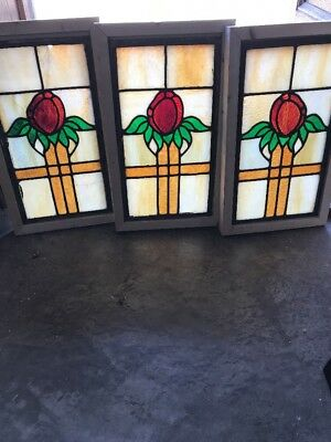 Sg 1733 Three Available Price Separate Antique Stainglass Window 10 1/2 X 18""