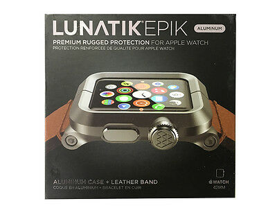 LUNATIK EPIK-012 - Black Aluminum & Brown Leather Band for Apple Watch 42mm - VG