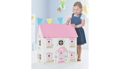 Children Wooden Dolls House Furniture Pink and White Large Toy Doll Kids Play