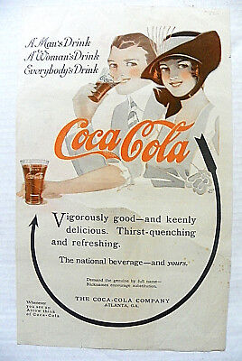 """1914, June """"a Man's Drink-A Woman's Drink"""" Arrow~Couple To Coca-Cola Flair Glass"""
