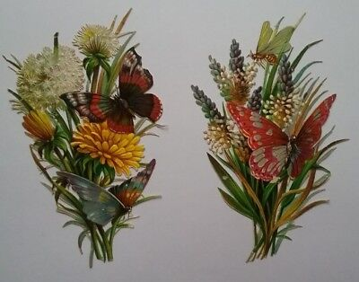 2 Lovely DiecutEmboss Victorian Scraps. Summer Flowers & Butterflies  app10x6cms